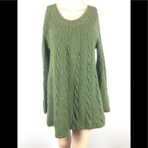 J Jill green cable sweater wool cotton Flowy Sz S